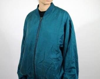 Vintage 80s SILK Green Blue Light Jacket Bomber Style Summer Spring Men Mens Women Womens XL L