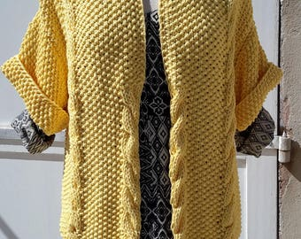 FREE shipping on DECEMBER !! cotton Jacket handknitted with Rosarios4 / Portugal ECO material , color Yellow