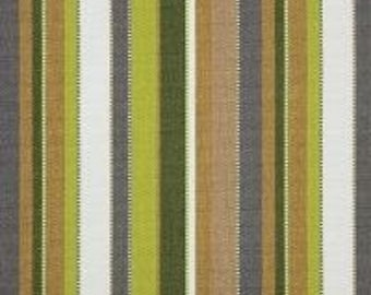Sunbrella outdoor indoor green gray white stripe upholstery fabric by the yard