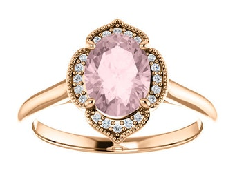 Morganite Diamond 14K Rose Gold Vintage Floral Style Halo Engagement Ring, Oval Gemstone