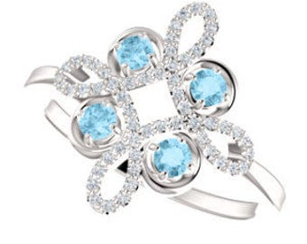 25% OFF Aquamarine Diamond Statement Ring, Gemstone Clover, 14K White Gold, Floral, March Birthstone