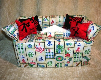 Mah Jongg, Russian Dolls, Potted Plants, and Black and Red Geo Print Tissue Box Covers