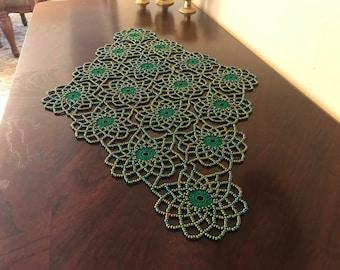 Rainbow Green Crochet Beaded Doily,table topper