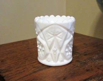 Pretty Imperial Glass White Milk Glass Toothpick Holder