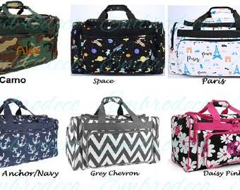 Personalized large 20in duffle bags. Great for travel, camping, long weekend, students in chevron, zebra, camo and more
