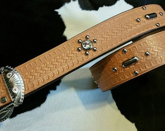 No.301 Handmade Vintage Reproduction Studded Jeweled Cowboy Western Belt