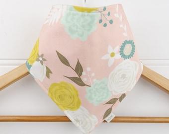 Organic Baby Bandana Bib with Pastel Flowers