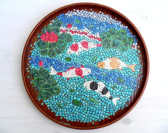 Japanese Carp Fish Koi Mosaic Plate Egg Shell Mosaic Wooden Tray Decorative Collectible Dish Home Decor Wall Art Wall Gift Office Decor