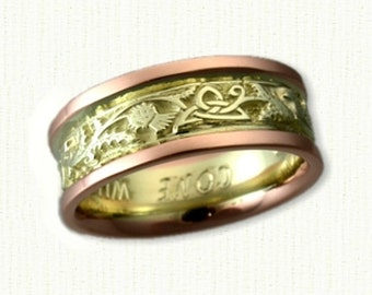 Celtic Triangle Knot with Thistles - Two Tone 14kt Green Gold Center with 14kt Rose Gold Rails - 7.0 mm Width - Beautiful Wedding Band