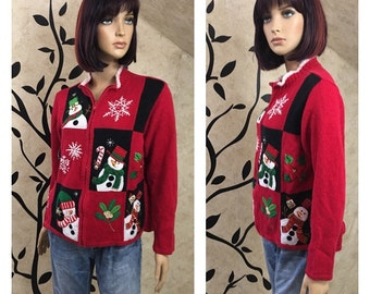 Snowman sweater, Zip up sweater, Size large sweater, Red sweater, Christmas sweater, Holiday sweater, Winter sweater