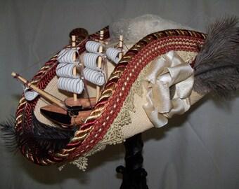 Straw tricorn, Pirate tricorn, Pirate hat, Grey Ghost Toppers, Straw Hat, Red Tricorn, Red Pirate Hat
