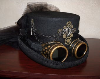 Steampunk Hat, Steampunk Top Hat, Ladies Top Hat, Top Hat With Goggles, Black Top Hat, Victorian Riding Hat,Grey Ghost Toppers,Pirate Hat