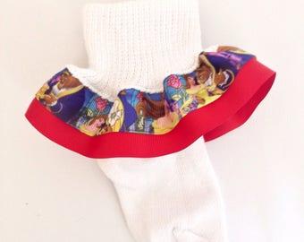 Beauty and the Beast Ruffle Socks - Beauty and the Beast Girls Socks -Belle Socks - Ruffle Socks - Character Girl Socks