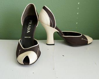 Vintage Prada Vero Cuioi Peep Toe Pumps Prada Shoes Heels Peep Toe Canvas Leather Size 7 Very Good Condition Prada Made in Italy