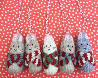 Bertie Bunny Hand Knitted Christmas Decoration