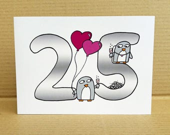Silver Anniversary Card - 25th Anniversary - Wedding anniversary card - penguins