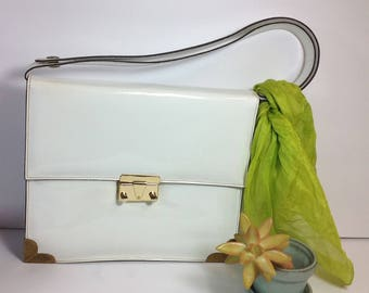 Retro White Patent leather purse/ Ronay handbag with adjustable strap/Vintage mid century bag
