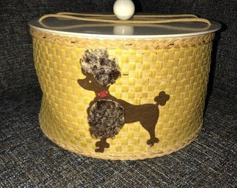 Vintage Princess Sewing Basket Poodle Round Sewing Basket, Sewing Storage Box