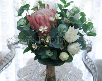 Matilda Bridesmaid Posy Soft Pink Queen Protea Australian Native Gum Foliage, Silk Wedding Artificial Bridal Flowers, Rustic, Simple Elegant
