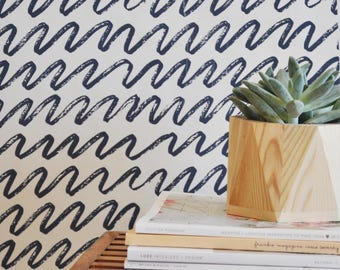 "Wallpaper - 24"" x 48""  Marker Waves Removable wall paper tile - Wall Paper"