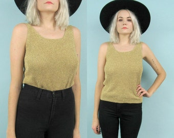 90s Gold Tank Top, Metallic, Sparkle, Glitter, Size Small, Knit, Holiday, New Years, Sleeveless, Minimalist, Glam, Disco, Party, Sweater Top