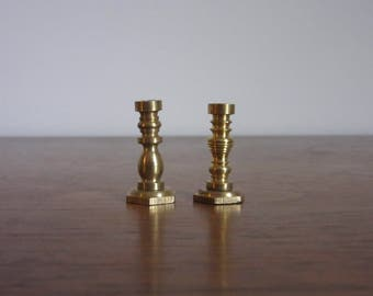 Vintage Mismatched Miniature Brass Candlesticks, Dollhouse Living/Dining Room Furniture, Doll House Shabby Chic/Formal Decor, Colonial,Brass