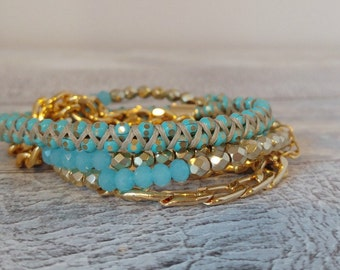 5 times Wrap Bracelet, Gold and Aqua Crystal beaded weaved together with grey  cotton waxed cord