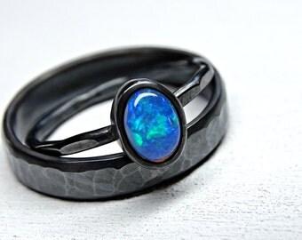 welo opal ring set black silver opal engagement ring set opal wedding ring set