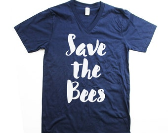 Vneck Bee tshirt - Organic Cotton Mens Save the bees Shirt - Navy Small, Medium, Large, XL, 2XL - bee shirt - bee tee - honey bee - bees