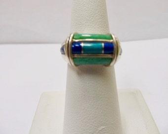 RODERICK TENORIO Sterling Silver Inlaid Stone Ring Item W # 362