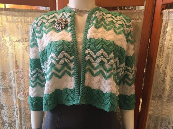 Vintage Kerrybrooke Green and White Knit Cropped  Sweater New with Tags Ohio Knitting Mills Size Medium