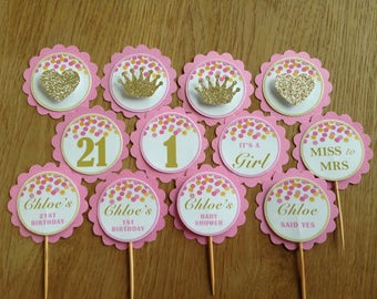 Pink & Gold Confetti ~ Personalised Cupcake Toppers ~ for Birthdays, 21st, Baby Shower, Bridal Shower