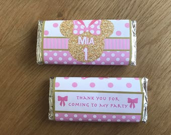 Gold Minnie Mouse Ears ~ Personalised Chocolate Wrappers ~ Pink & Gold ~ suit Minnie Birthday Party