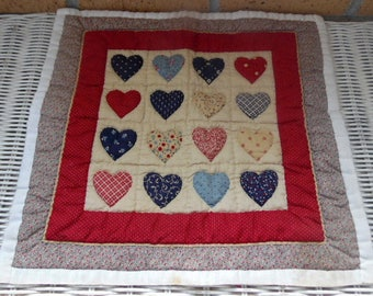 "Handmade quilt for small dolls,  .Heart design. 15X16"".  . Dolls, doll accessories, doll bedding, blanket."