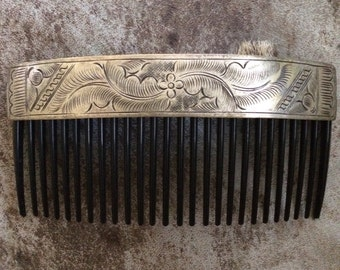 Stamped Sterling Silver Hair Comb