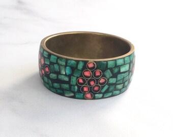 Vintage Brass and Bone Mosaic Bangle // Indian Bracelet // Mosaic Bone Bangle