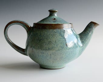 Teapot for two handthrown with copper glaze