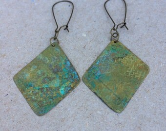 Brass Patina Diamond Dangle
