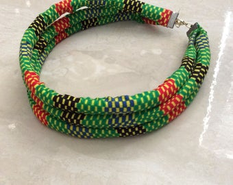 African Print three layer Choker