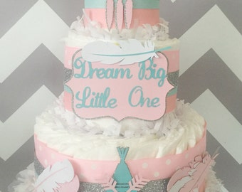 Dream Big Little One Boho Diaper Cake, Tribal Baby Shower Centerpiece in Pink, Mint, Silver and White