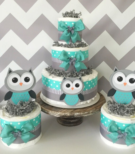SET OF 3 Owl Diaper Cakes In Turqoise/Teal Gray And White