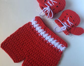 Crochet boxing set-Boxing gloves-Boxing outfit-Boxing trucks-