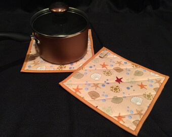 Beach Quilted, Insulated Pot Holder Set