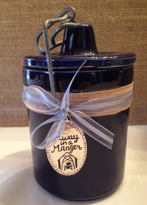 Blue Christmas Crock Candle with Wood Wick