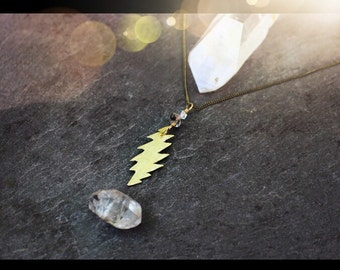 Grateful Dead necklace / 13 point bolt / steal your face/ raw crystal jewelry / heady quartz herkimer diamond