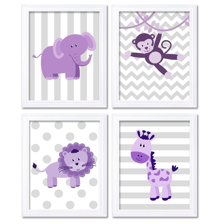 Purple Africa Safari Jungle Animals Nursery Art Baby Set of 4 Prints Elephant Monkey Lion Giraffe Wa