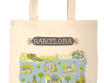 Barcelona Tote Bag-City Tote-Spain Bag-Any City Tote-Blue-Chartreuse-Gray-Personalized-Custom