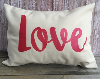 Love Pillow Cover 12x16 in Black or Cream Canvas
