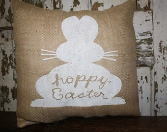 Hoppy Easter Pillow Cover, Throw Pillow, 16x16 or 12x16 Pillow Cover,  Easter Bunny Pillow