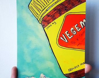 Wall art print poster australian vegemite food funny colourful decor
